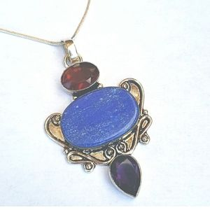 Jewelry - VINTAGE ■ Lapis & Crystal Sterling Silver Pendant